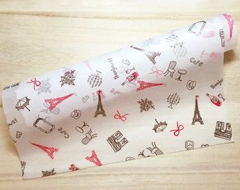 Paris Cafe Food Wrapping Paper - Brown & Red (10 Sheets / 25cm x 35cm) Cake Wax Paper Greaseproof Paper Candy Wrap Paper P0237