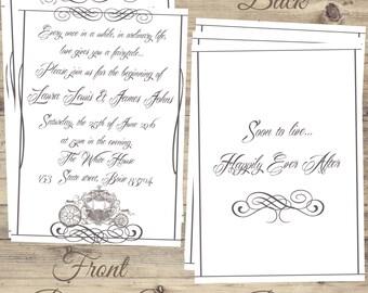 Cinderella Wedding Invitations Kit, Cinderella Elegant Wedding Invitations, Cinderella Wedding, Fairytale Cinderella Wedding invitation