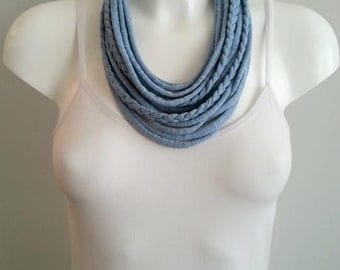 t shirt necklace, fabric necklace, cotton fabric necklace, t shirt scarf, infinity necklace