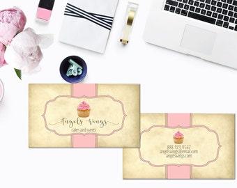 Cupcake Business Card, Bakery Modern Calligraphy Custom Business Card.