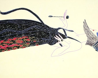 Erte 1982 - VAMPS - BLACK MAGIC Matted Print - Witches Spells - Black Dress Fur Trim  - Professionally Matted Art Deco Print Ready to Frame