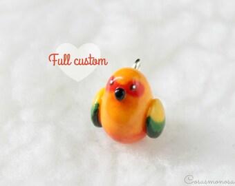 CUSTOM bird jewlery - FULL custom pet necklace, bracelet or brooch, cute and original handmade charm