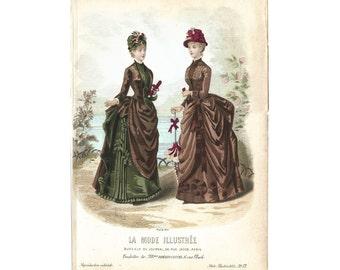 Mode de Paris, La Mode Illustrée, Hand Colored French Lithographic Print, 1870-90, #13