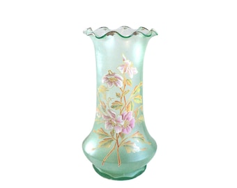 French Green Flower Vase, Art Nouveau Enamelled Vase