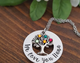 We Love You Nana Necklace | Birthstone Necklace For Nana | Birthday Gifts For Nana | Grandmother Necklace | Gift For Nana | Grandma Necklace