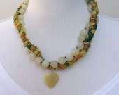Sari silk and Jade necklace, yellow jade necklace, jade jewellery, Bohemian necklace, gypsy jewellery