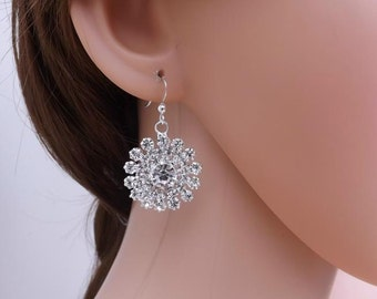 Rhinestone diamante flower earrings with sterling silver ear wires