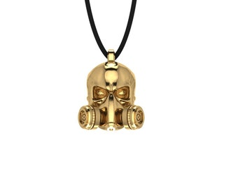 Handmade Skullmask Necklace Jewelry Charm Pendant with adjustable cord
