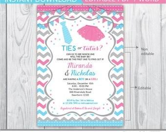 tutus or ties invitation / ties or tutus gender reveal / gender reveal invitation / gender reveal invitation printable / INSTANT DOWNLOAD