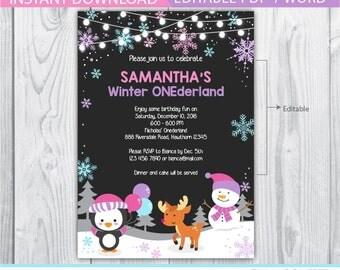 winter onederland invitation girl / winter onederland invitation / penguin birthday invitation / winter onederland girl / christmas birthday