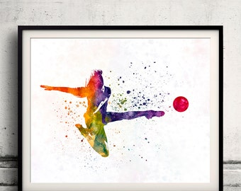 Woman soccer player 04 - Fine Art Print Glicee Poster Home Watercolor sports Gift Room Children's Illustration Wall - SKU 2292