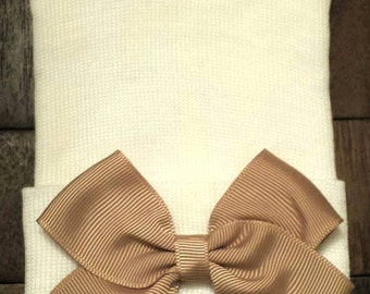 Newborn Hospital Hat - Newborn Bow Hat - Neutral Color Bow Hat - Baby Girl Hat - Newborn Baby Girl Hat - Tan Bow Hospital Hat - Girl Bow Hat