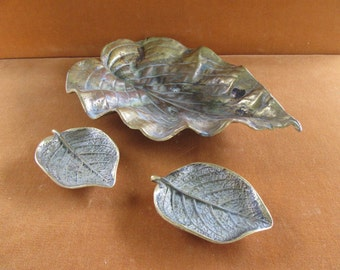 lot of 3 brass leaf trays Virginia Metalcrafters and Cambron