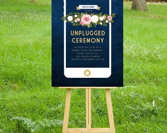 The FRANKIE . Unplugged Wedding Ceremony Sign. PRINT or PDF, Shipping Included. Gold & Navy Chalkboard iphone. White Blush Pink Roses Floral