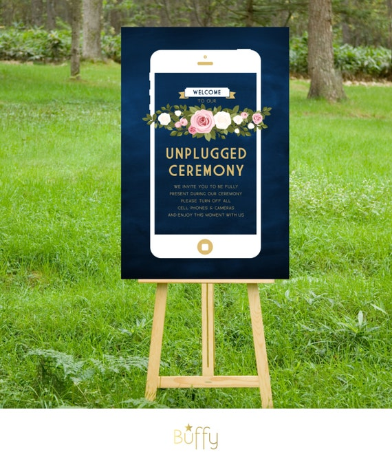 The FRANKIE . Unplugged Wedding Ceremony Sign . Gold & Navy Chalkboard iphone . White Blush Pink Roses Floral . Winter Wedding Custom PDF