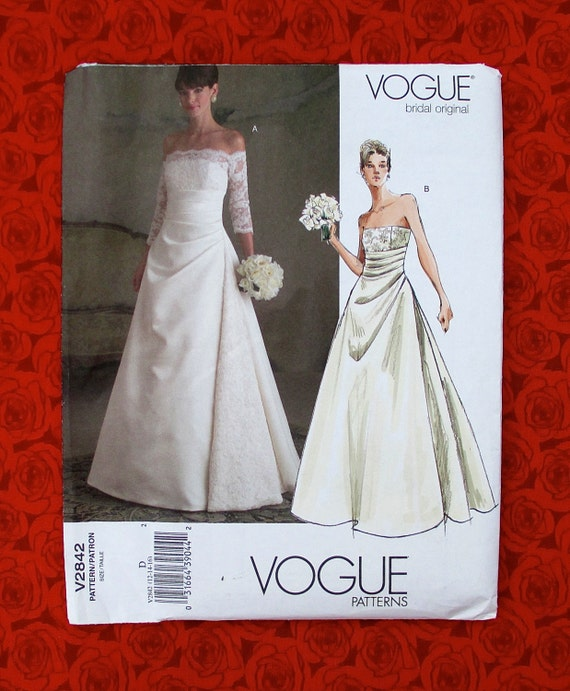 Vogue sewing pattern v2842 bridal gown formal long wedding for Lace wedding dress patterns to sew