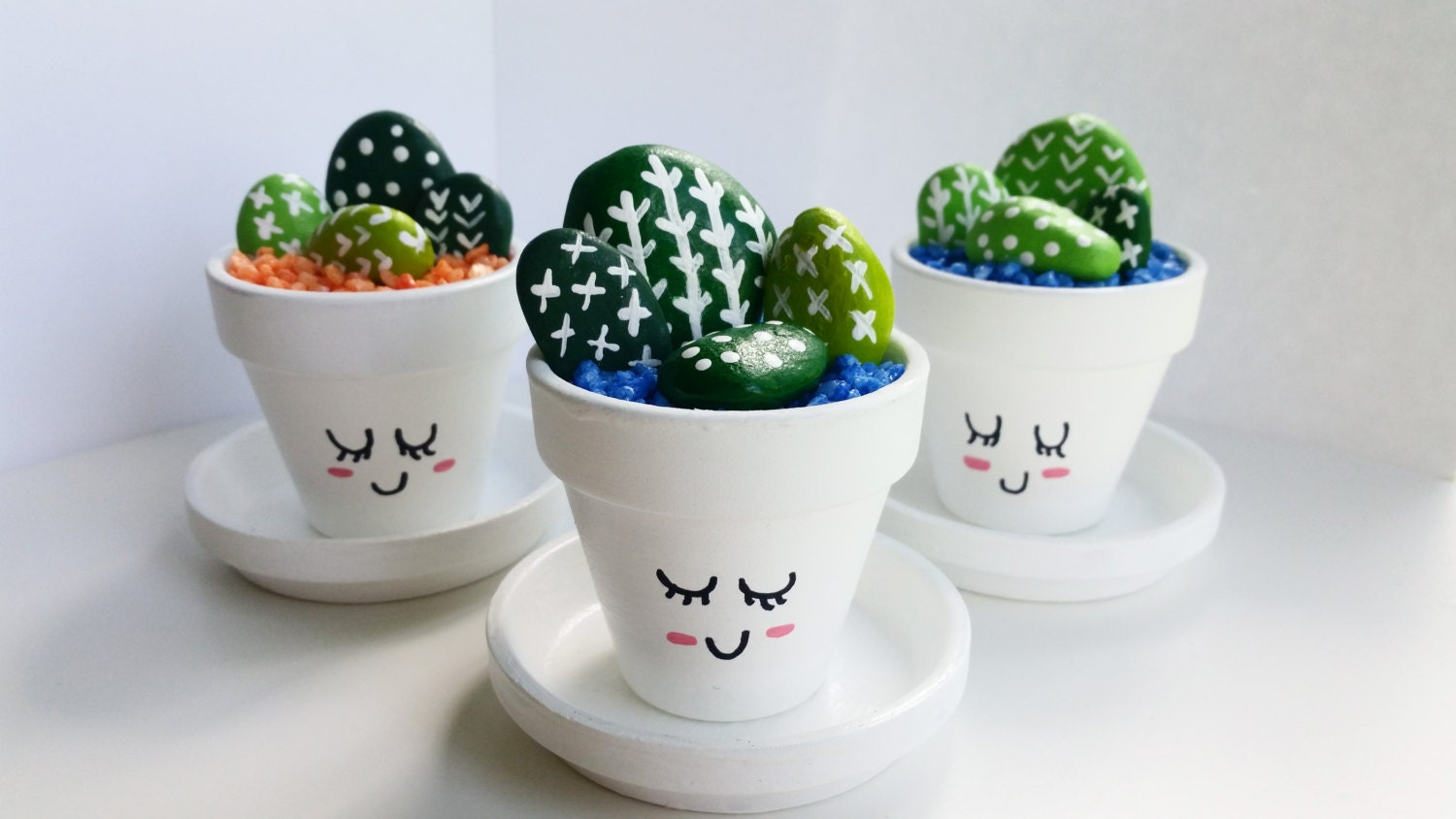 mini hand painted cactus pots cute cacti. Black Bedroom Furniture Sets. Home Design Ideas