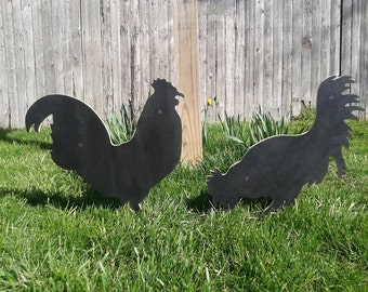 Chicken Silhouette Wood Yard Art Display,Lawn Ornament