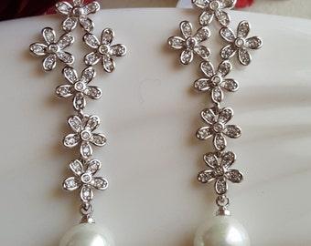 Bridal Flower CZ Pearl Drop Earrings / Wedding CZ earrings/Bridesmaids Earrings