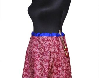 Free Shipping - Kantha Pure Silk Skirt Vintage Style One-of-a-kind with Silk Border and Tassel