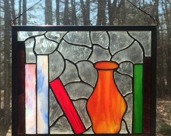 Stained Glass Bookshelf with Vase