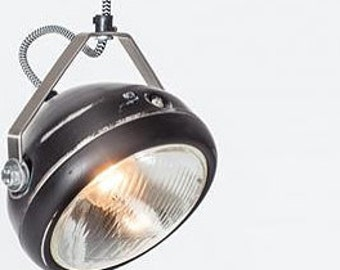 No.5 vintage headlight in black – hanging lamp – spotlight - industrial lighting