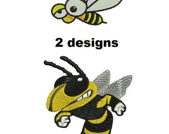 2 Designs: Bee embroidery patterns Machine embroidery designs Digital Download