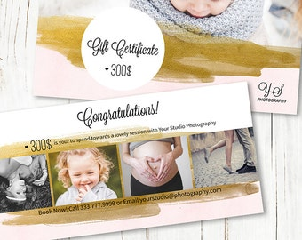 4x8 Gift Certificate Photography - Gift Certificate Template - Gift Certificate Design - Photoshop Template - SF011 - INSTANT DOWNLOAD