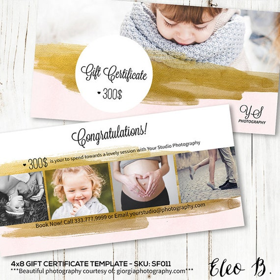 4x8 gift certificate photography gift certificate template 4x8 gift certificate photography gift certificate template gift certificate design photoshop template sf011 instant download yelopaper Gallery