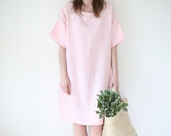 Wide and loose minimal linen dress. Washed soft linen dress, tunica.