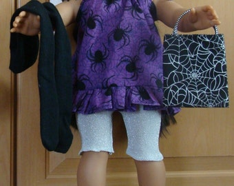 """Fits 18"""" doll/Halloween outfit (Purple Spiders)"""