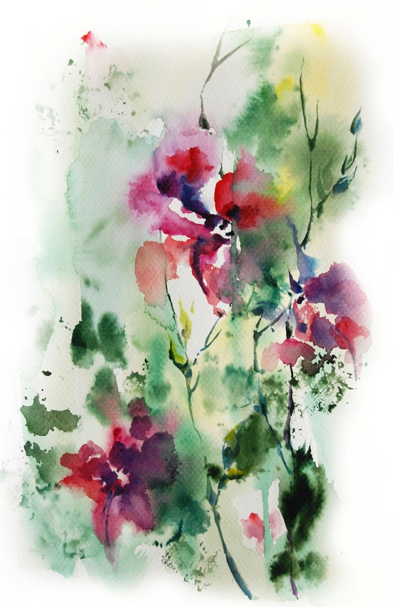 Items similar to Abstract Watercolor Painting Print, Fine ...