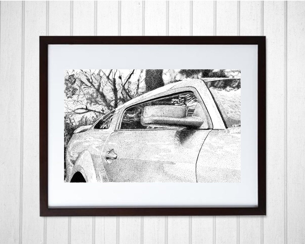 Stippling Ford Mustang Car Lover Gift Pointillism Man Cave Decor Black And White Art