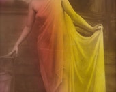 The Ancient Cult of The Goddess, Semi Nude Classical Nymph Erotic Dance in Silk Original Rare 1910s French Fantasy Tinted Photo Postcard