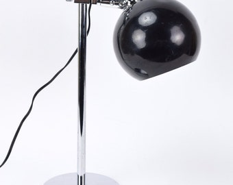 Vintage Mid Century Modern Black and Chrome Eyeball Desk Bedside Table Lamp