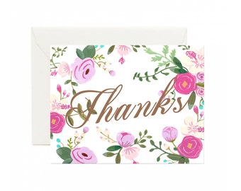 Pink Floral rose peony thank you greeting card