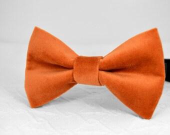 Burnt orange velvet bow tie, orange bow tie, burnt orange bow tie, mens orange bow tie, wedding bow tie, bow tie for men, groomsmen bow tie