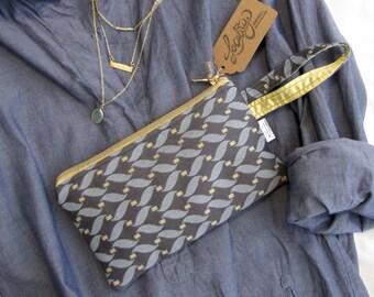INVENTORY SALE - Wristlet Bag - Blue Chain Pattern
