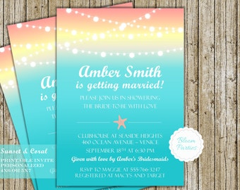 Beach Theme Wedding Shower Invitation Starfish Sunset Coral and Aqua Bridal Shower Invite Printable Digital