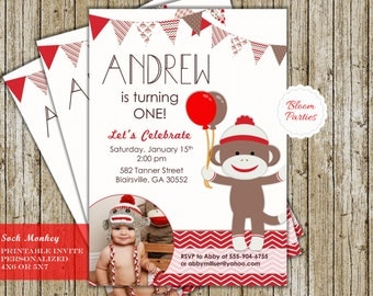 Sock Monkey Birthday Invitation  First Birthday 1st Birthday Boy Birthday Party Invite Red Digital Printable
