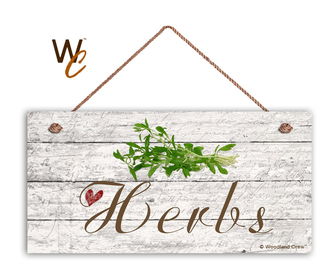on sale herbs sign garden sign rustic decor herb on