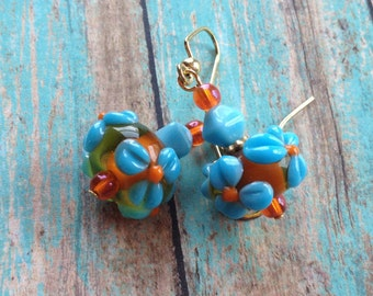 Turquoise and Burnt Orange Flower Lampwork Earrings, Lampwork Earrings, Earrings, Flower Lampwork, Flower Earrings, For Her