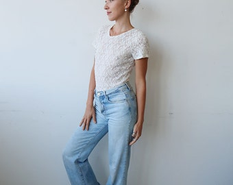 SALE! Semi Sheer White Lace 90s Tee