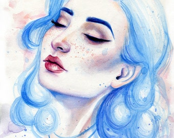 ORIGINAL WATERCOLOR PAINTING Blue Hair Girl Portrait by Emily Luella