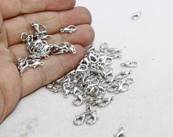 50 Pcs 12mm Silver Brass Lobster Clasp , Brass lobster clasp , closure , FRY30