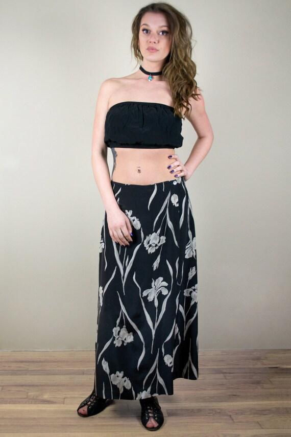 Vintage 80s Silk Lily Print Maxi Skirt