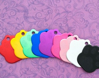 Custom Engraved Paw Print Pet Tag - Choose Your Color - Dog Collar - Cat Collar - Cat Tag - Dog Tag - Pet ID Tag - ID Tag