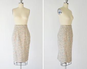 Karla skirt • tweed wool pencil skirt • multicolor thread high waist wiggle skirt