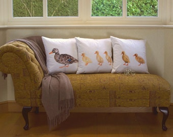 Duck and ducklings cushions, pillow set. Adorable, duck family, following, 'keep up at the back', birds, quirky design, cute, fluffy chicks