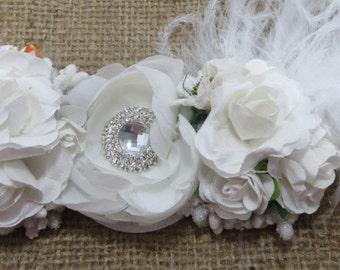 White Adjustable Flower Crown, Children's Crown, Wedding Accessory